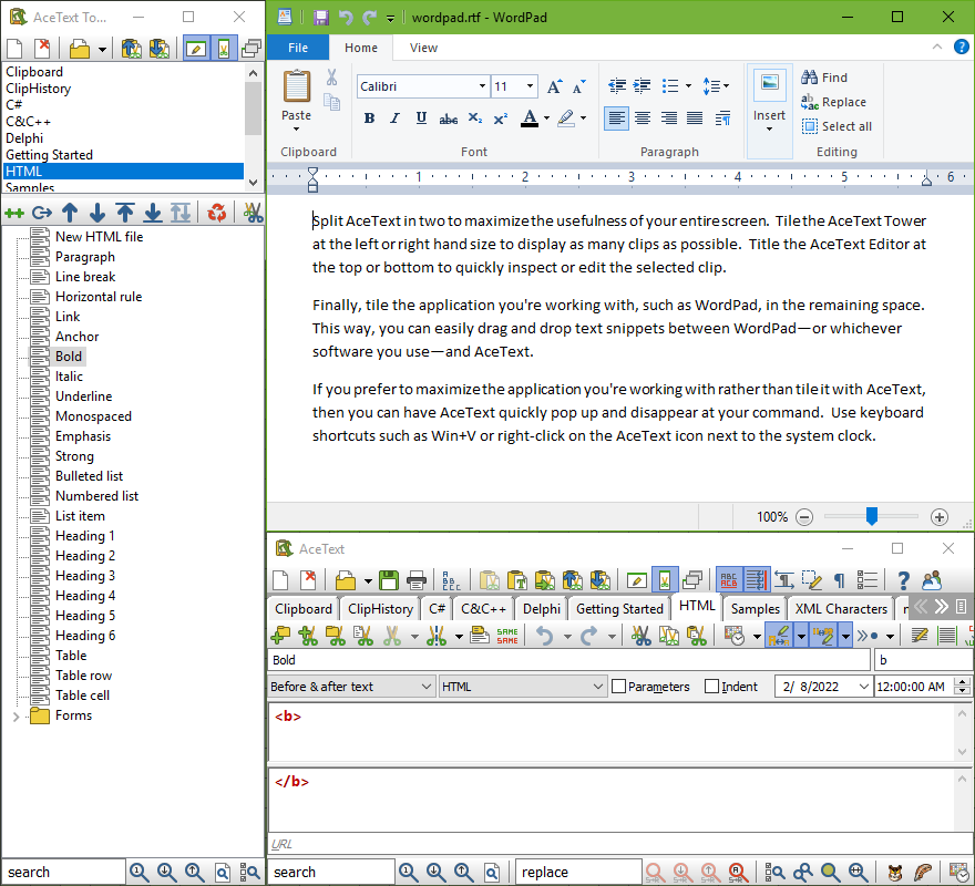 With AceText you can use your clip collections with any application, such as Wordpad